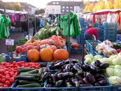 朝市に並ぶ野菜