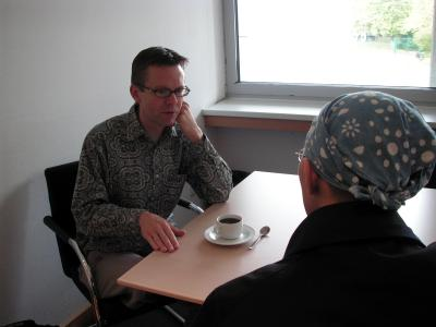 M.リーコック氏とインタビュー